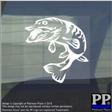 1 x Pike-Vinyl Sticker-Car Window Graphic Sign Animal,Fish,River,Lake,Fishing,Swim